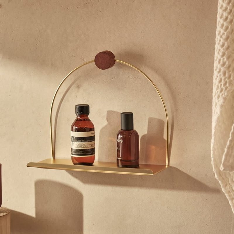 bathroom shelf brass